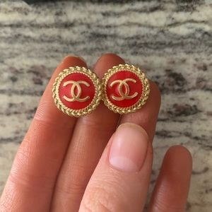 Authentic Chanel CC button earrings